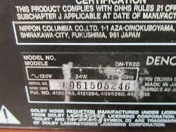 Denon Dn-t620 Rack Mount Professional Cd & Cassette Combo Deck 37c