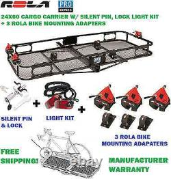 Pro Series 24x60 Cargo Rack Basket & 3 Bike Carrier Mount Adapters Lights + Lock