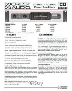 Rack Mount Crest Audio CD 2000 2000 Watt Pro Power Amp 560WithCH @ 8-OHMS #400