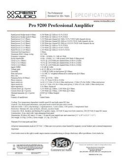 Rack Mount Crest Audio PRO 9200 Professional Power Amplifier #2676