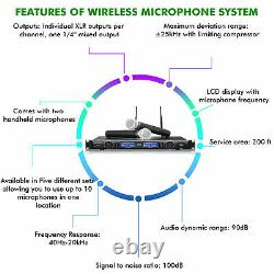 Technical Pro Professional UHF Dual Wireless Microphone System with XLR & UHF Mics