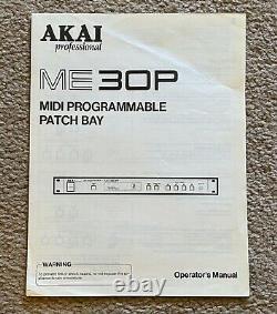 Akai Professional Me30p Rack Mount MIDI Programmable Patch Bay W Manuel De L'utilisateur