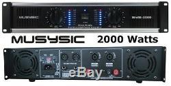 Musysic 2 Canaux 2000w De Puissance Professionnel Dj Amplificateur 2u Rack Amp Stéréo