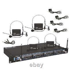 Pyle Pdwm4400 Rack Mount 4 MIC Vhf Rack Mount Wireless Lavalie/ Casque