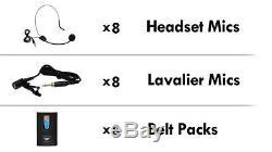 Pyle Rack 8 Canaux Sans Fil 8 Casques D'écoute Et 8 Lavalier Microphone System