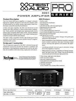 Rack Mount Crest Audio 8001 Amplificateur De Puissance Professionnel 750 Avecch @ 8-ohms