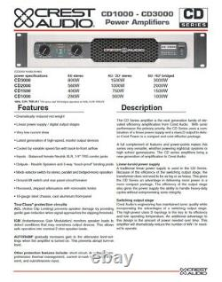 Rack Mount Crest Audio CD 2000 2000 Watt Pro Power Amp 560withch @ 8-ohms #486