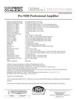 Rack Mount Crest Audio Pro 9200 Amplificateur De Puissance Professionnel