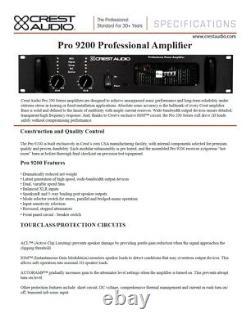 Rack Mount Crest Audio Pro 9200 Amplificateur De Puissance Professionnel #2733